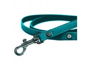 Vodítko pro psa kožené se zdobením Milk&Pepper - modro zelené - 1,5 x 120 cm