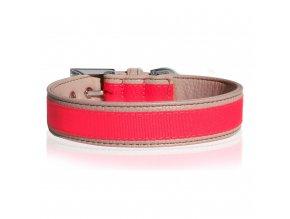 Obojek pro psa kožený neonový Milk&Pepper - růžový - 3 x 45 cm