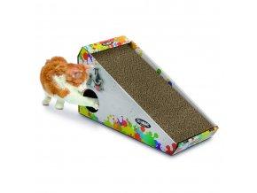 Kartonové škrabadlo pro kočky s hračkou a šantou Argi - 48 x 27 x 20 cm
