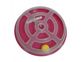 Hračka pro kočku - kruh s míčkem Argi - 29 x 5 cm - růžová