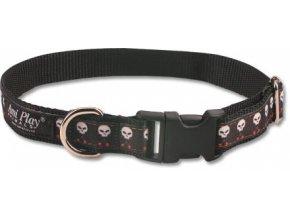 obojek pro psa nylonovy cerny se vzorem lebka 2 x 24 42 cm