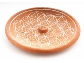 vyr 387Stojan na vonne tycinky Kvet zivota z keramiky hnedy 1
