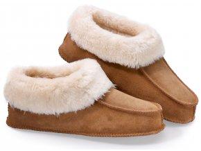 Luxusní hřejivé papuče z pravé kůže - SJH 352 Velikost L (43-46)