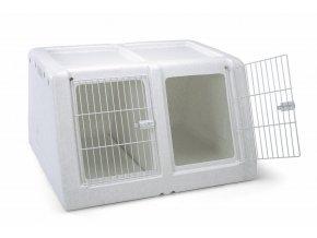IMAC Přepravka do auta pro dva psy plastová s výsuvnou přepážkou - šedá - D 90 x Š 78 x V 53 cm
