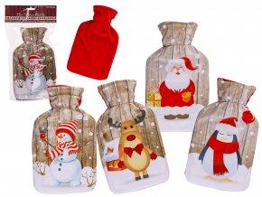 Termofor s fleecovým obalem Vánoce 1l Motiv Sněhulák