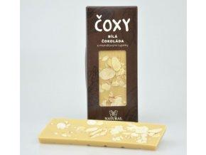 Natural Jihlava ČOXY - bílá čokoláda s mandlovými lupínky a xylitolem 50g