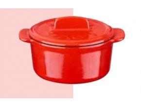 Litinový mini hrnec kulatý 9 cm - červený