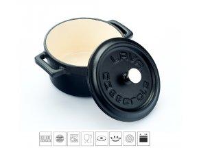 Litinový mini hrnec kulatý 10 cm - černý/bílý