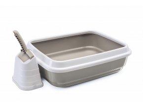 IMAC Kočičí záchod s vysokým okrajem a lopatkou - béžový - D 59 x Š 40 x V 28 cm