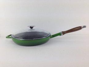 Litinová pánev s dřevěnou rukojetí a skleněnou poklicí 24 cm - zelená