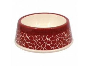 Keramická miska pro psy - Žirafa, červená - 21 cm / 700 ml