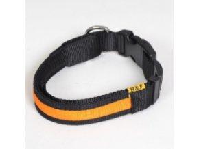Svítící nylonový obojek - popruh černo oranžový - 41 až 54 cm / 25 mm