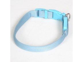 Svítící nylonový obojek - popruh modrý - 28 až 38 cm / 15 mm
