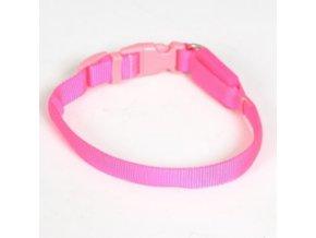 Svítící nylonový obojek - popruh růžový - 28 až 38 cm / 15 mm