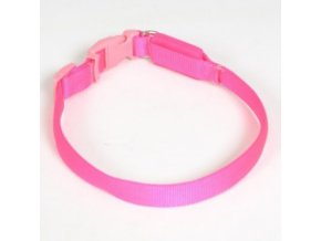 Svítící nylonový obojek - popruh růžový - 38 až 48 cm / 15 mm