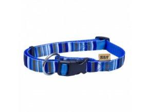 Nylonový obojek – popruh PROUŽKY modrý – 30 až 47 cm / 15 mm