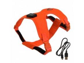 Svítící postroj pro psy – Oranžový – OK: 30-42 cm, OH: 42-62 cm