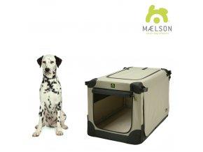 Maelson Nylonová skládací přepravka s ocelovou konstrukcí - černo-béžová - L - 82 x 59 x 59 cm