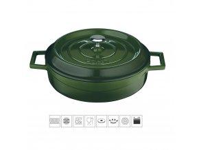 Litinový hrnec nízký kulatý 32 cm - zelený
