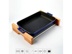 Litinový pekáč 22x30cm s dřevěným podstavcem - modrý