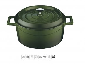 Litinový hrnec kulatý 32 cm - zelený