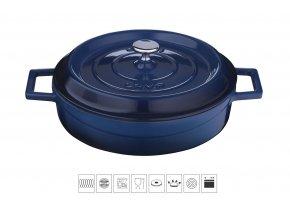 Litinový hrnec nízký kulatý 28 cm - modrý
