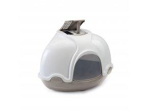IMAC Krytý kočičí záchod rohový s filtrem - šedý - D 52 x Š 52 x V 44,5 cm
