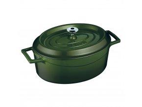 36761 litinovy hrnec ovalny 33cm zeleny