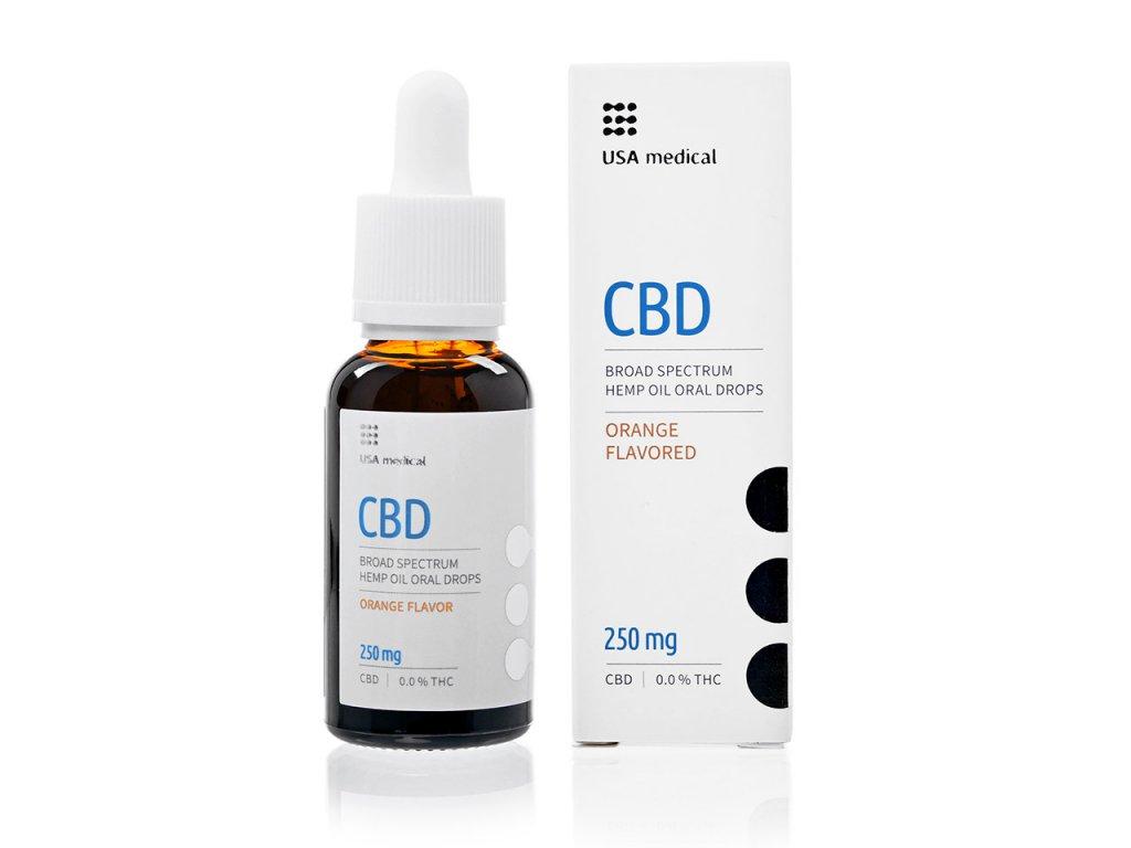 USA medical Oral Drops 250mg CBD olej 30 ml