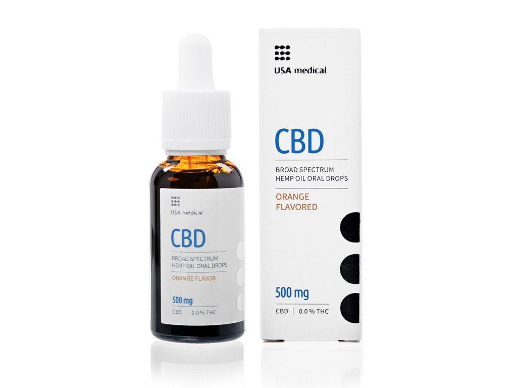 USA medical Oral Drops 500mg CBD olej 30 ml