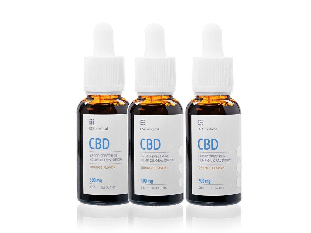 USA medical Oral Drops 500mg CBD olej 30 ml 3xset