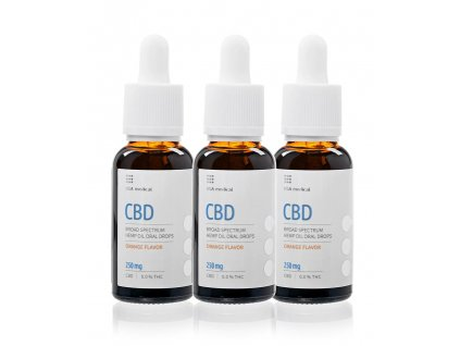 USA medical Oral Drops 250mg CBD olej 30 ml set3x