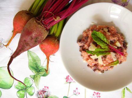 Růžové italské rizoto s řapíkem