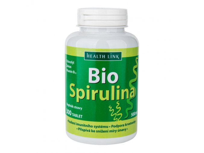 Health link Spirulina s vitaminem B12 300 tablet × 500 mg BIO
