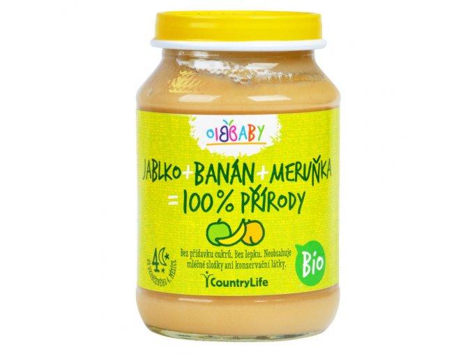 Příkrm jablko, banán, meruňka 190 g BIO COUNTRY LIFE