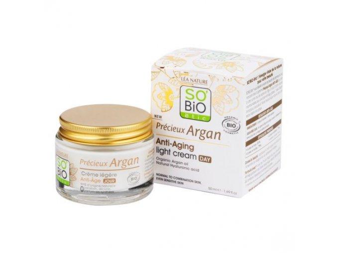 SO´BiO étic Krém denní lehký pro normální až smíšenou pleť 50 ml BIO Anti-age Precieux Argan