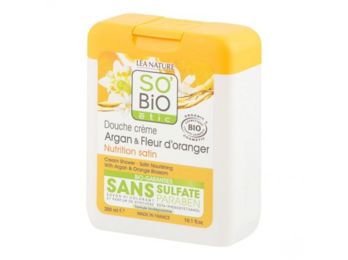 SO´BIO étic Gel sprchový argan a pomerančové květy BIO 300 ml