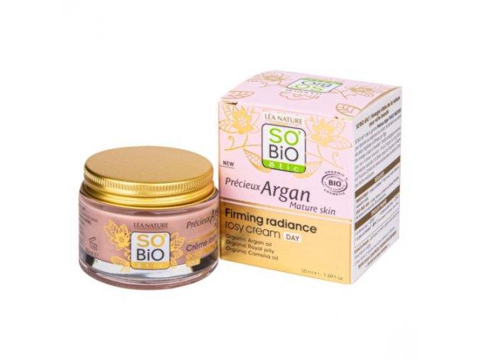 SO'BiO étic Krém růžový denní pro rozjasnění a zpevnění BIO zralá pleť Precieux argan 50 ml