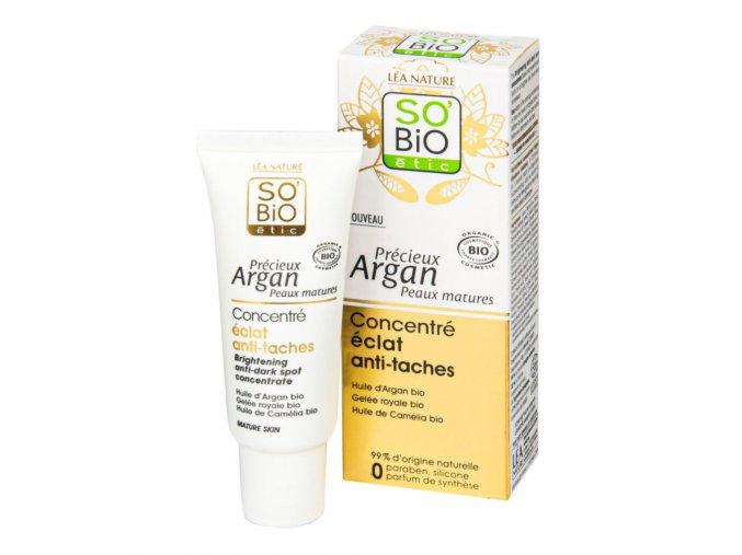 SO'BIO étic Koncentrát rozjasňující proti pigmentovým skvrnám 40 ml BIO zralá pleť Precieux argan