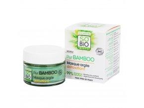SO´BIO étic Detoxikační pleťová maska s jílem – řada Pur BAMBOO BIO 50 ml