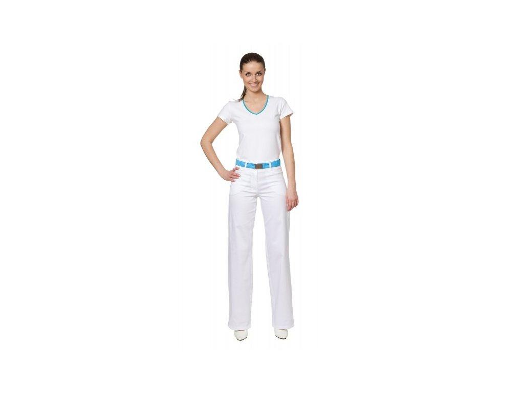 Kalhoty KATKA s elastanem (Dám. OB Na zakázku - 56 (128 cm), Barva Kepr odlehčený s elastanem - Bílá)