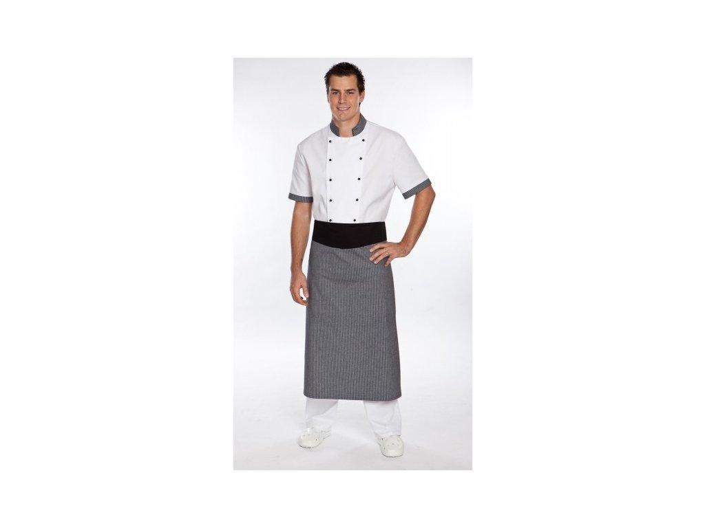 Kuchařská zástěra s ohybem (Barva Lyocell - Světle fialová, Barva doplňku Kepr - Černá)