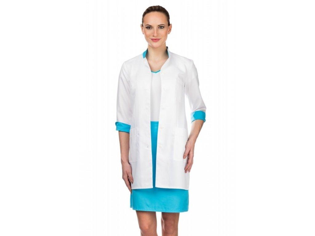 Plášť ZDEŇKA fresh (Barva Lyocell - Bílá, Barva doplňku Lyocell fresh - Tyrkysová, Dám. OH Na zakázku - 54 (116 cm))