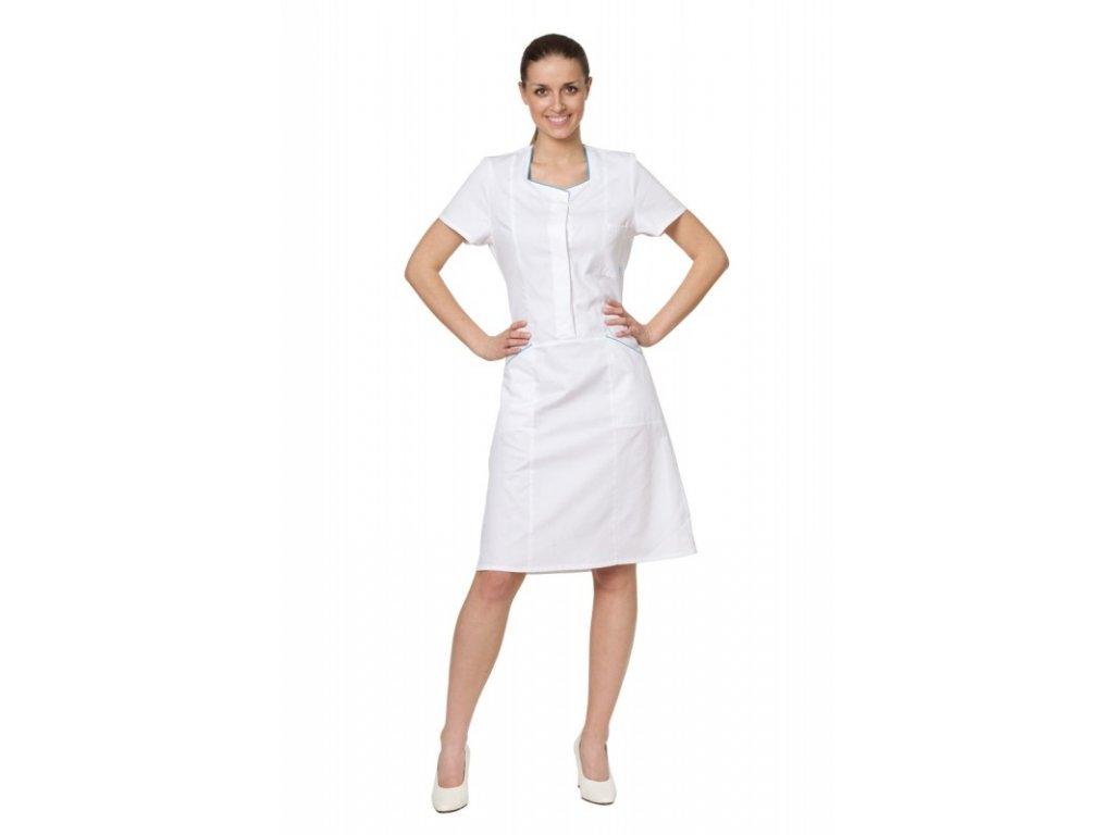 Šaty D24 (Dám. OH Na zakázku - 58 (124 cm), Barva Kepr odlehčený - Bílá, Barva doplňku Lyocell fresh - Tyrkysová)