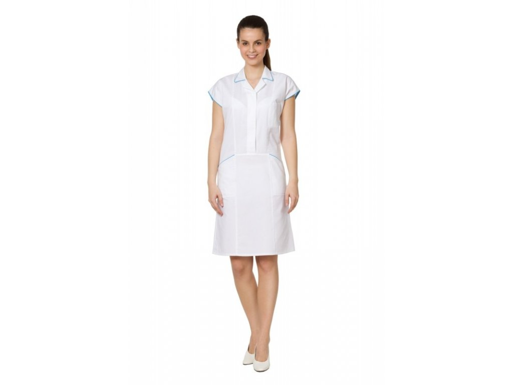 Šaty D25 (Dám. OH Na zakázku - 60 (128 cm), Barva Kepr odlehčený - Bílá, Barva doplňku Lyocell fresh - Tyrkysová)