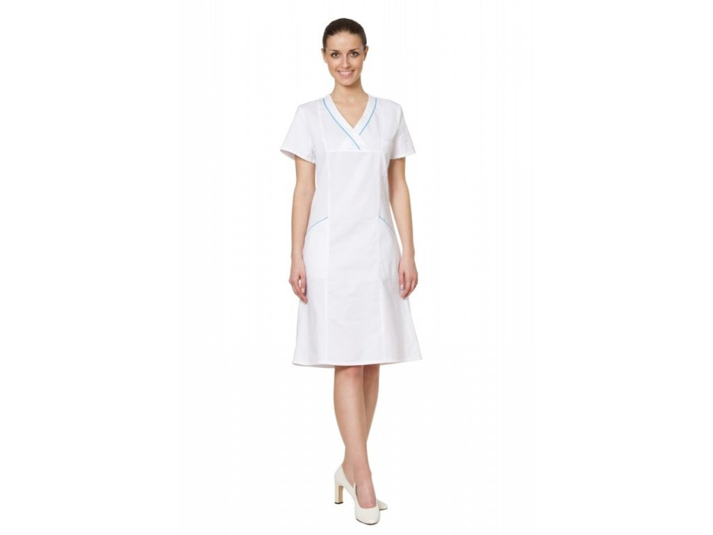 Šaty EMA (Dám. OH Na zakázku - 58 (124 cm), Barva Kepr odlehčený - Bílá, Barva doplňku Lyocell fresh - Tyrkysová)