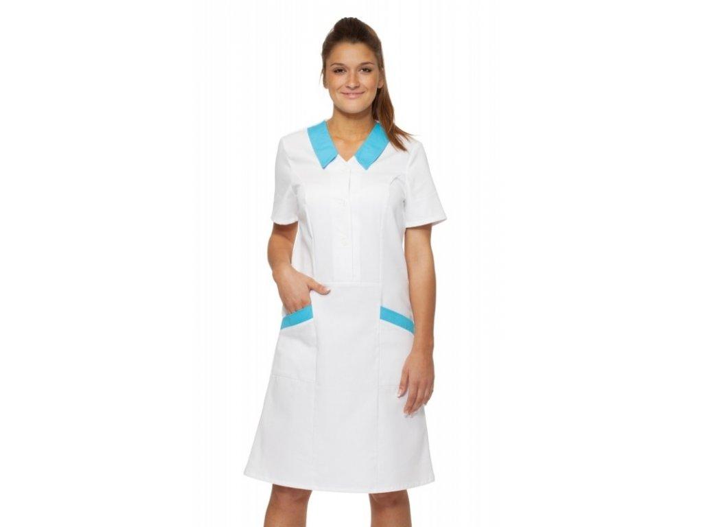 Šaty HELA (Barva Kepr odlehčený - Bílá, Barva doplňku Lyocell fresh - Tyrkysová, Dám. OH Na zakázku - 52 (112 cm))