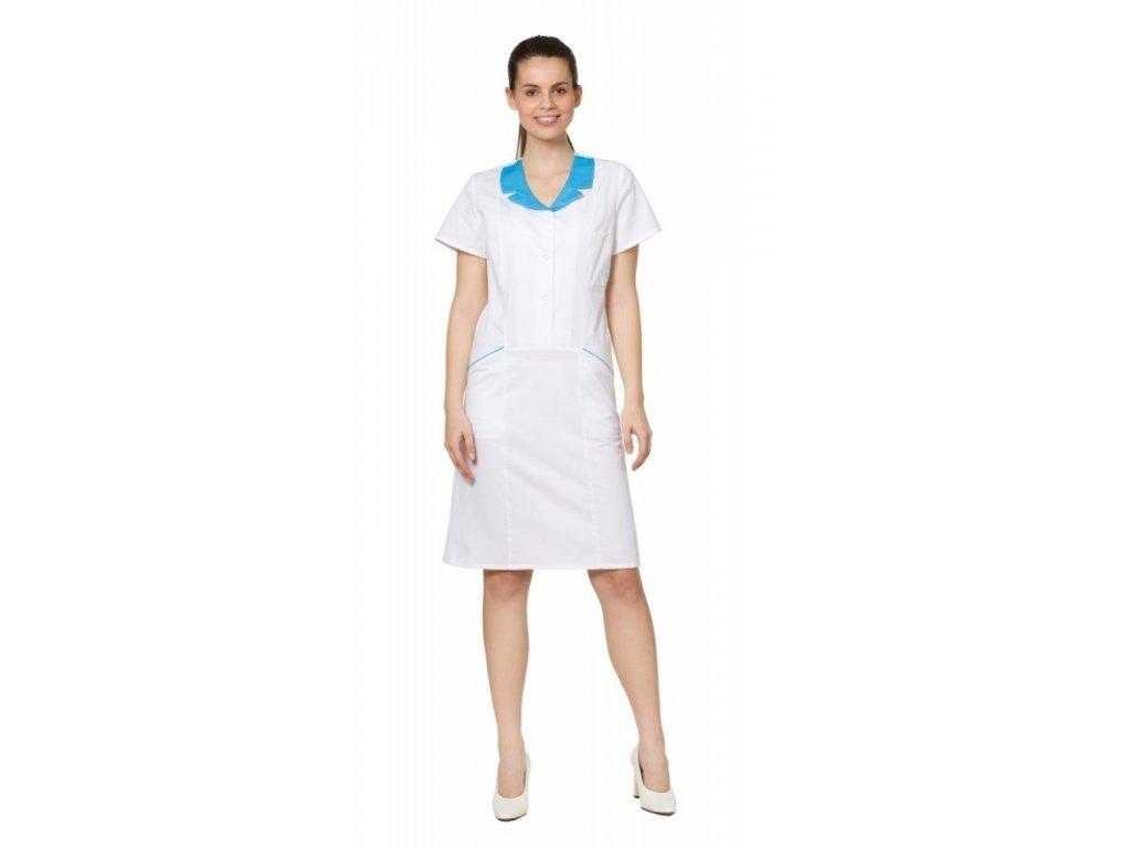 Šaty RENÁTA (Dám. OH Na zakázku - 56 (120 cm), Barva Kepr odlehčený - Bílá, Barva doplňku Lyocell fresh - Tyrkysová)