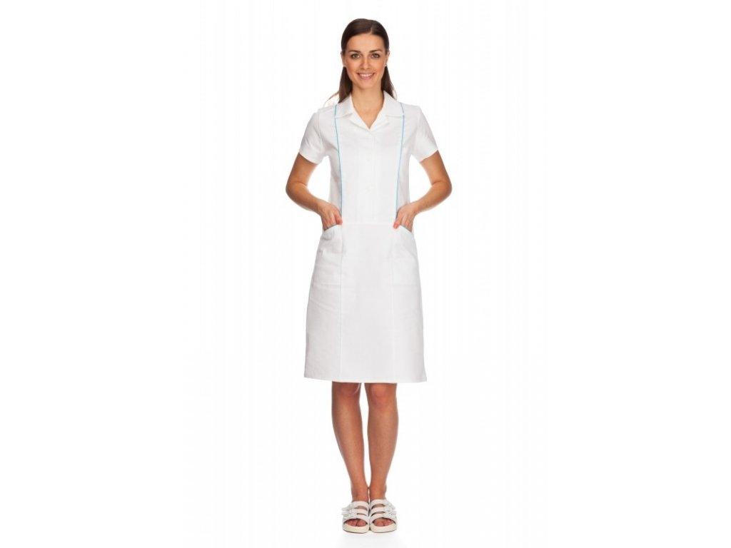 Šaty ROMANA (Dám. OH Na zakázku - 58 (124 cm), Barva Kepr odlehčený - Bílá, Barva doplňku Lyocell fresh - Tyrkysová)