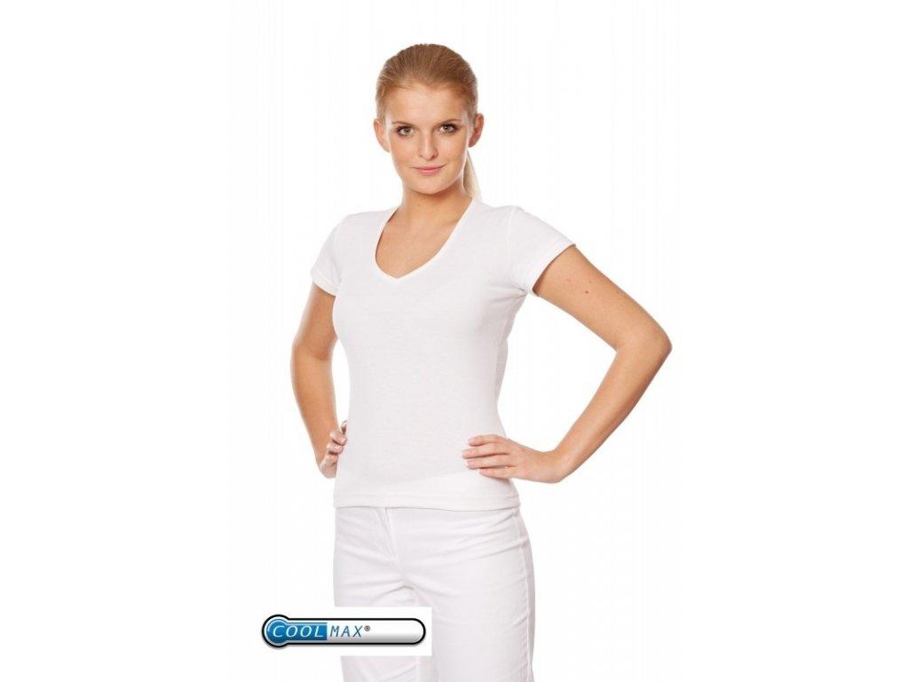 Triko MILADA Coolmax® Soft Tech (Dám. OH XL (102-110 cm), Barva Coolmax fresh - Bílá, Barva doplňku Úplet fresh - Růžová (na zakázku))